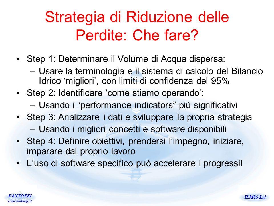 ILMSS Ltd. FANTOZZI www.leakage.it Strategia di Riduzione delle Perdite: Che fare? Step 1: Determinare il Volume di Acqua dispersa: –Usare la terminol