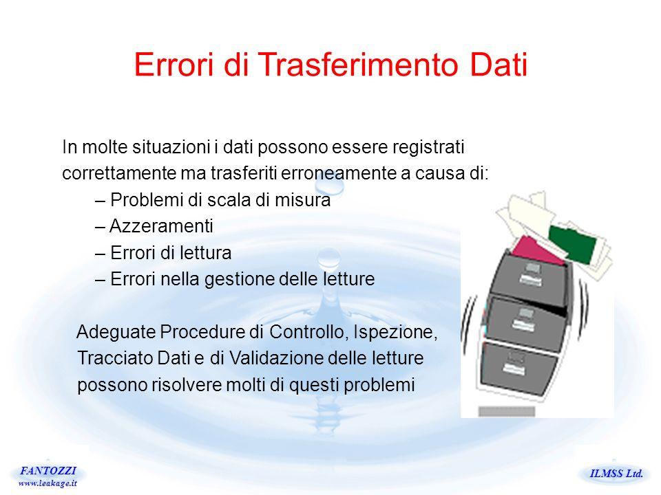 ILMSS Ltd. FANTOZZI www.leakage.it Errori di Trasferimento Dati In molte situazioni i dati possono essere registrati correttamente ma trasferiti erron
