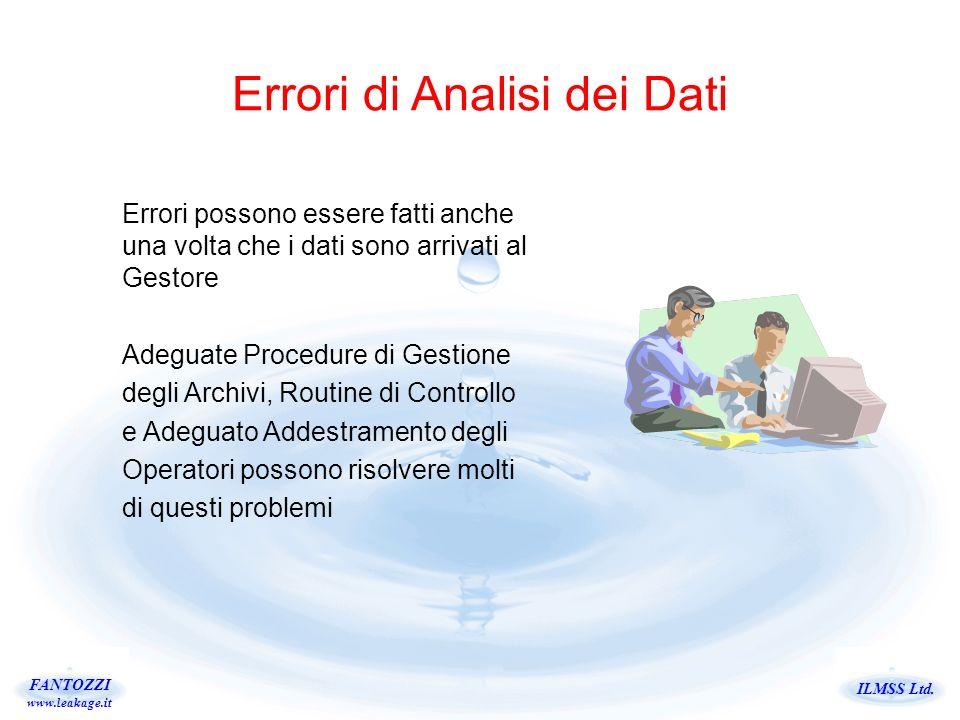 ILMSS Ltd. FANTOZZI www.leakage.it Errori di Analisi dei Dati Errori possono essere fatti anche una volta che i dati sono arrivati al Gestore Adeguate