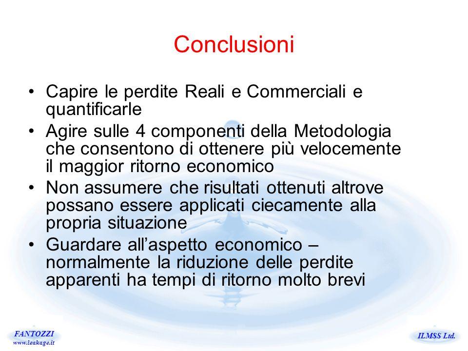 ILMSS Ltd. FANTOZZI www.leakage.it Capire le perdite Reali e Commerciali e quantificarle Agire sulle 4 componenti della Metodologia che consentono di