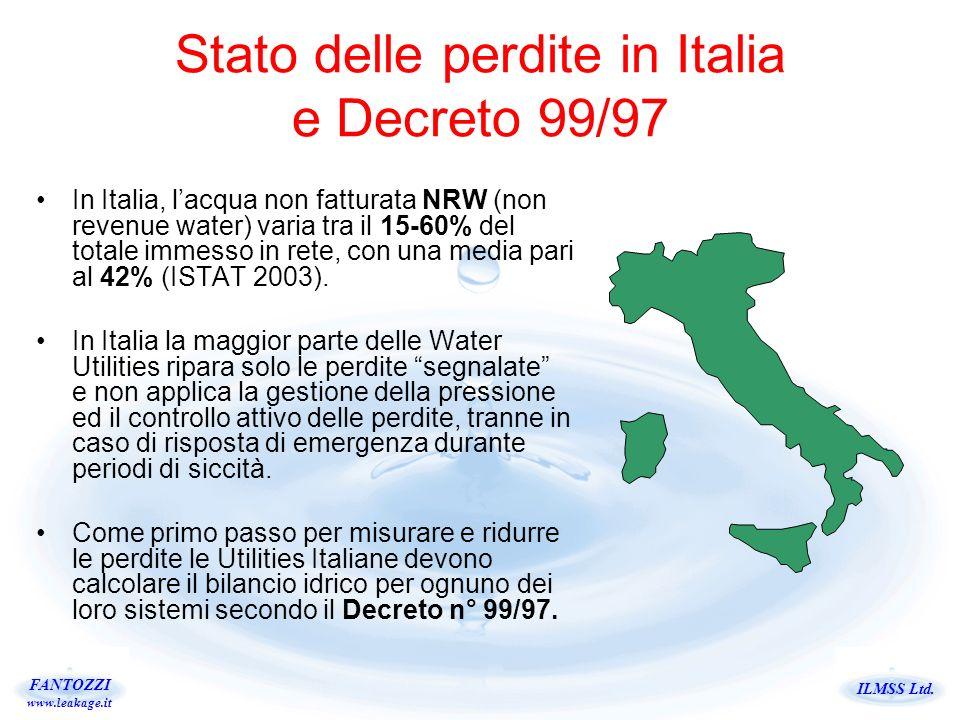 ILMSS Ltd. FANTOZZI www.leakage.it Stato delle perdite in Italia e Decreto 99/97 In Italia, lacqua non fatturata NRW (non revenue water) varia tra il