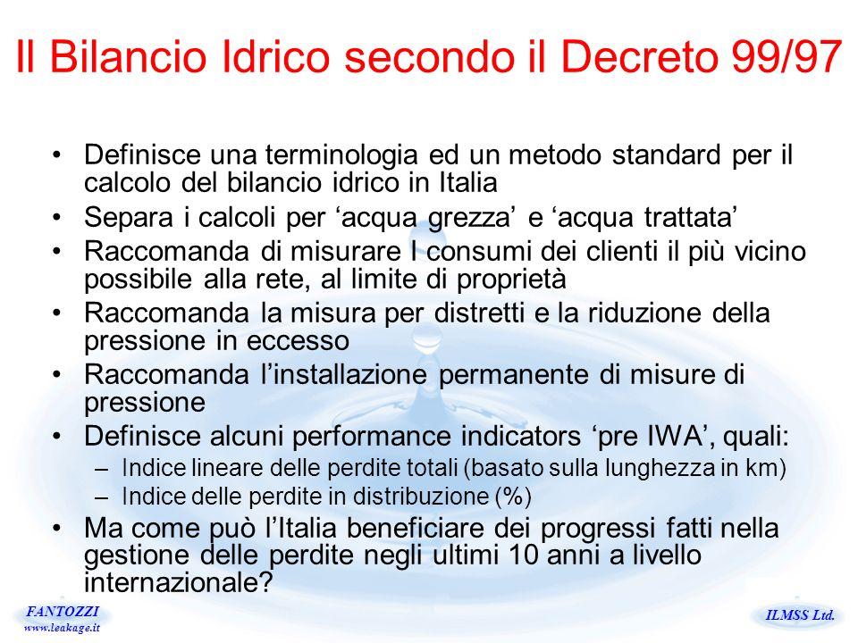 ILMSS Ltd. FANTOZZI www.leakage.it Definisce una terminologia ed un metodo standard per il calcolo del bilancio idrico in Italia Separa i calcoli per