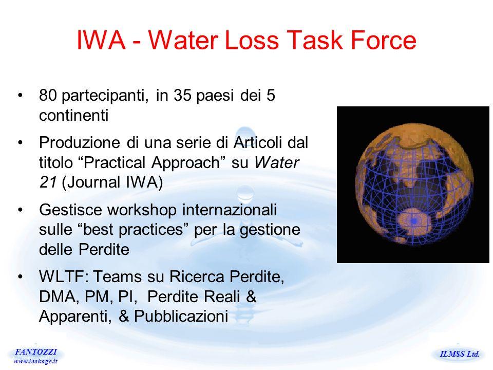 ILMSS Ltd. FANTOZZI www.leakage.it IWA - Water Loss Task Force 80 partecipanti, in 35 paesi dei 5 continenti Produzione di una serie di Articoli dal t