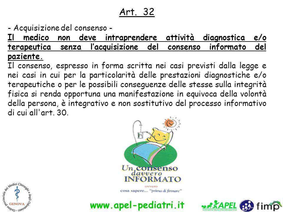 www.apel-pediatri.it Art. 32 - Acquisizione del consenso - Il medico non deve intraprendere attività diagnostica e/o terapeutica senza lacquisizione d