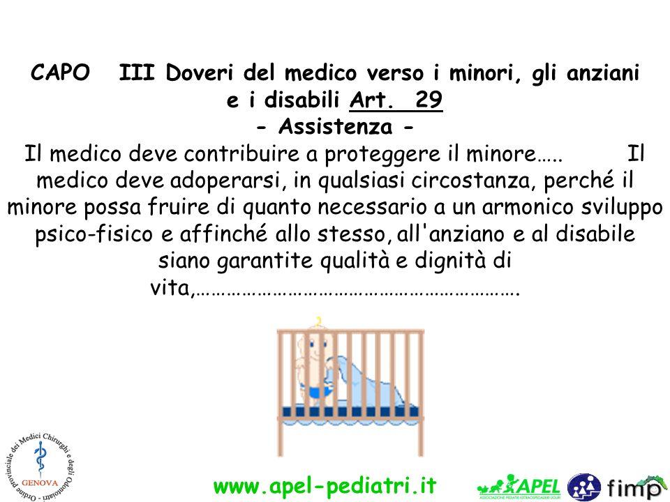 www.apel-pediatri.it CAPO III Doveri del medico verso i minori, gli anziani e i disabili Art. 29 - Assistenza - Il medico deve contribuire a protegger