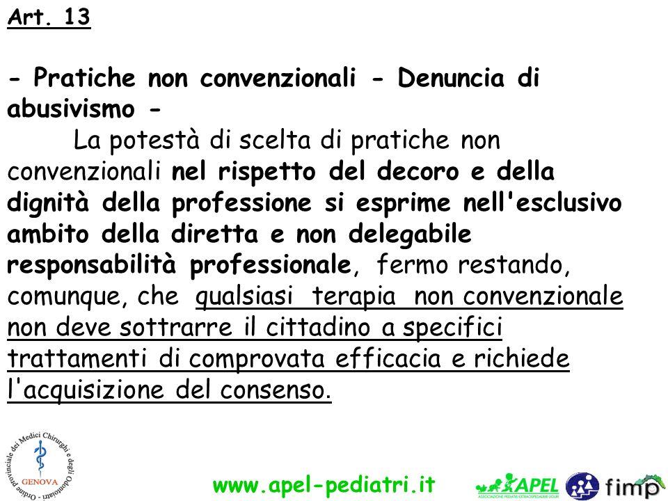 Art. 13 - Pratiche non convenzionali - Denuncia di abusivismo - La potestà di scelta di pratiche non convenzionali nel rispetto del decoro e della dig