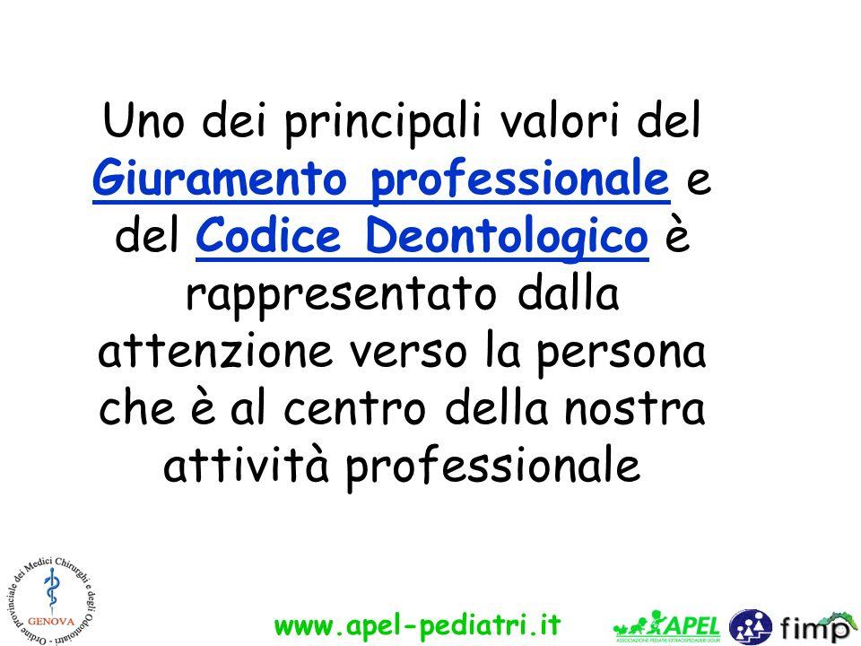 www.apel-pediatri.it Uno dei principali valori del Giuramento professionale e del Codice Deontologico è rappresentato dalla attenzione verso la person
