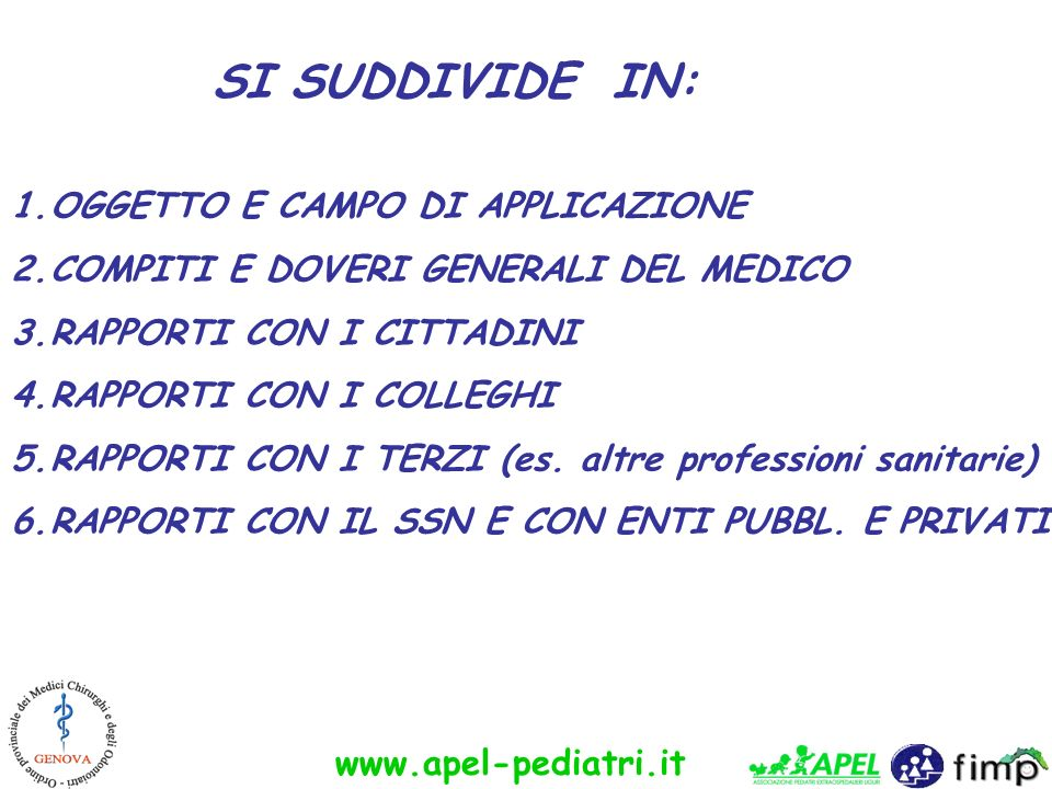 www.apel-pediatri.it 1.OGGETTO E CAMPO DI APPLICAZIONE 2.COMPITI E DOVERI GENERALI DEL MEDICO 3.RAPPORTI CON I CITTADINI 4.RAPPORTI CON I COLLEGHI 5.R