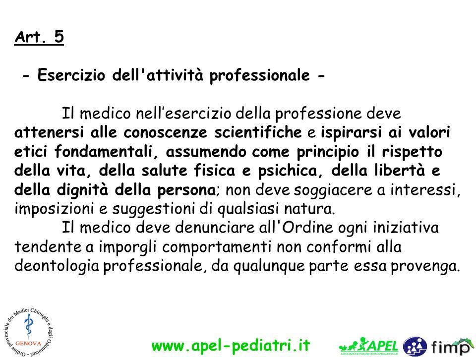 www.apel-pediatri.it Art. 5 - Esercizio dell'attività professionale - Il medico nellesercizio della professione deve attenersi alle conoscenze scienti