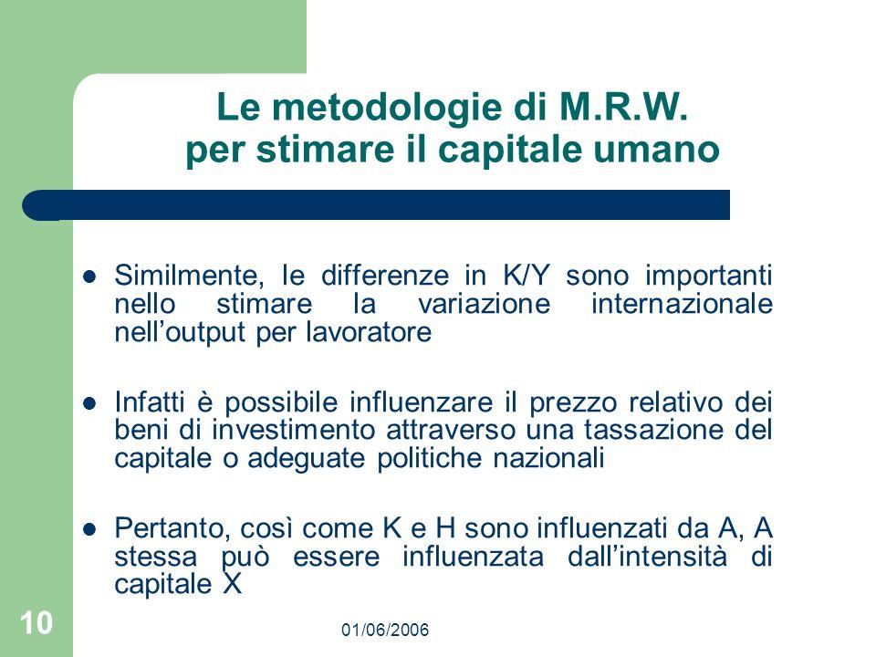 01/06/2006 10 Le metodologie di M.R.W. per stimare il capitale umano Similmente, le differenze in K/Y sono importanti nello stimare la variazione inte