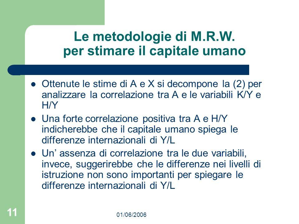 01/06/2006 11 Le metodologie di M.R.W. per stimare il capitale umano Ottenute le stime di A e X si decompone la (2) per analizzare la correlazione tra