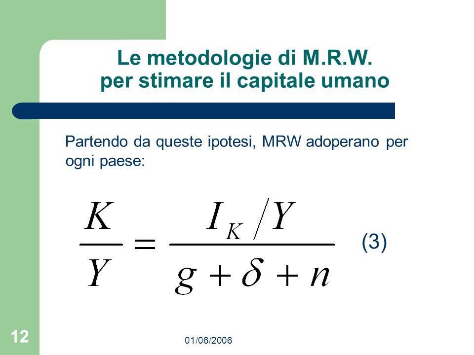 01/06/2006 12 Le metodologie di M.R.W. per stimare il capitale umano Partendo da queste ipotesi, MRW adoperano per ogni paese: (3)