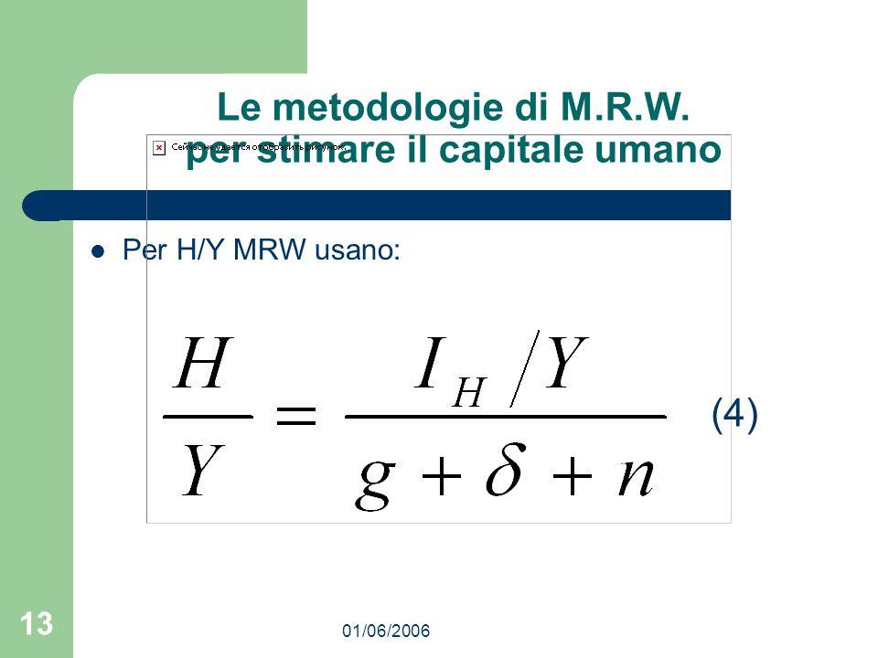 01/06/2006 13 Le metodologie di M.R.W. per stimare il capitale umano Per H/Y MRW usano: (4)