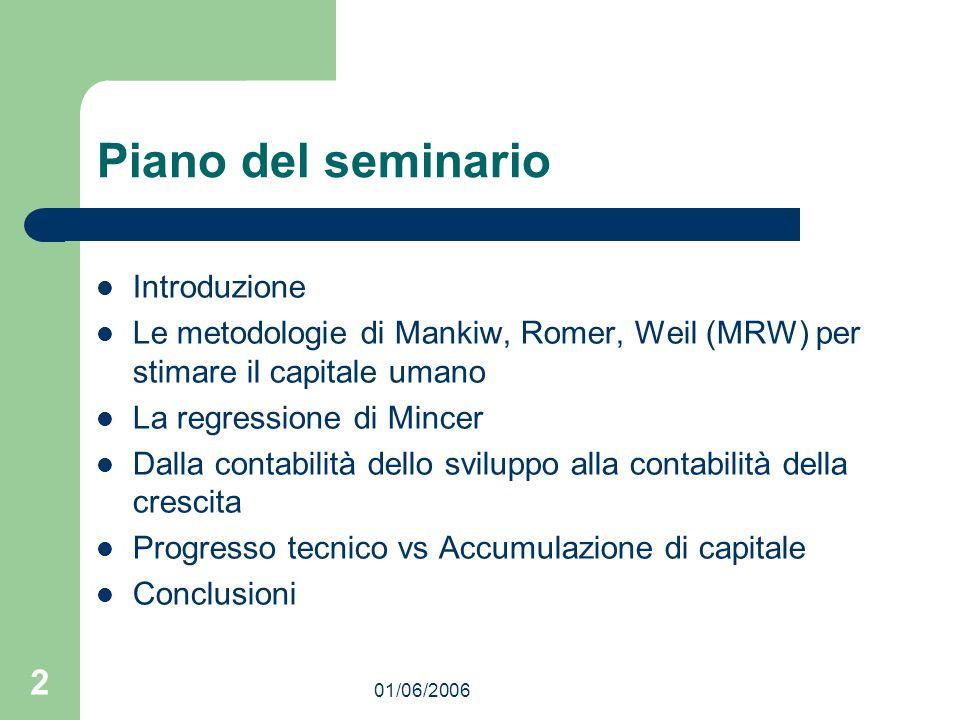 01/06/2006 2 Piano del seminario Introduzione Le metodologie di Mankiw, Romer, Weil (MRW) per stimare il capitale umano La regressione di Mincer Dalla
