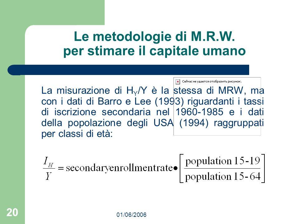 01/06/2006 20 Le metodologie di M.R.W. per stimare il capitale umano La misurazione di H Y /Y è la stessa di MRW, ma con i dati di Barro e Lee (1993)