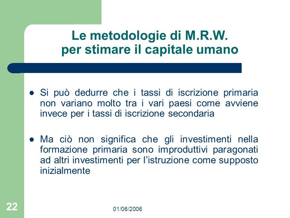 01/06/2006 22 Le metodologie di M.R.W. per stimare il capitale umano Si può dedurre che i tassi di iscrizione primaria non variano molto tra i vari pa