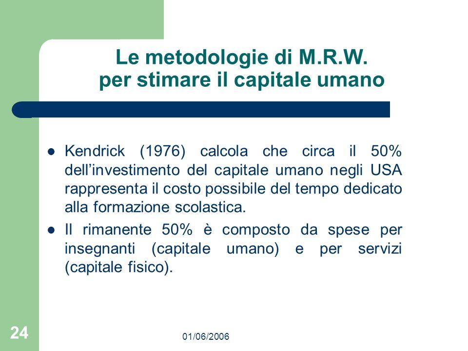 01/06/2006 24 Le metodologie di M.R.W. per stimare il capitale umano Kendrick (1976) calcola che circa il 50% dellinvestimento del capitale umano negl