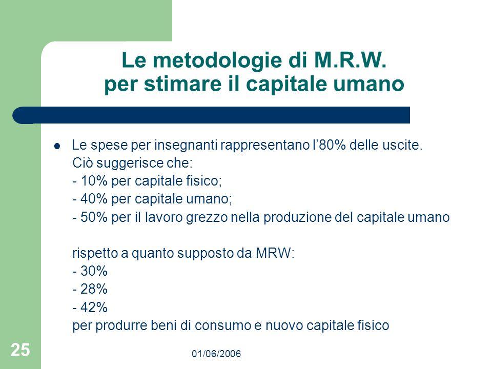 01/06/2006 25 Le metodologie di M.R.W. per stimare il capitale umano Le spese per insegnanti rappresentano l80% delle uscite. Ciò suggerisce che: - 10