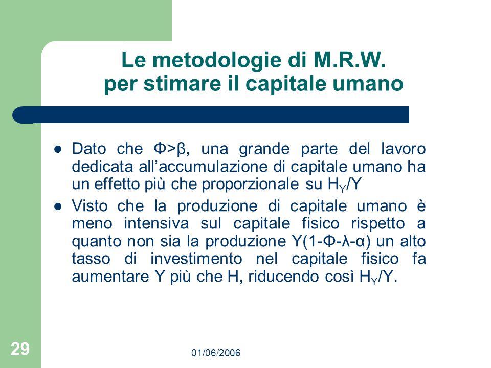 01/06/2006 29 Le metodologie di M.R.W. per stimare il capitale umano Dato che Φ>β, una grande parte del lavoro dedicata allaccumulazione di capitale u