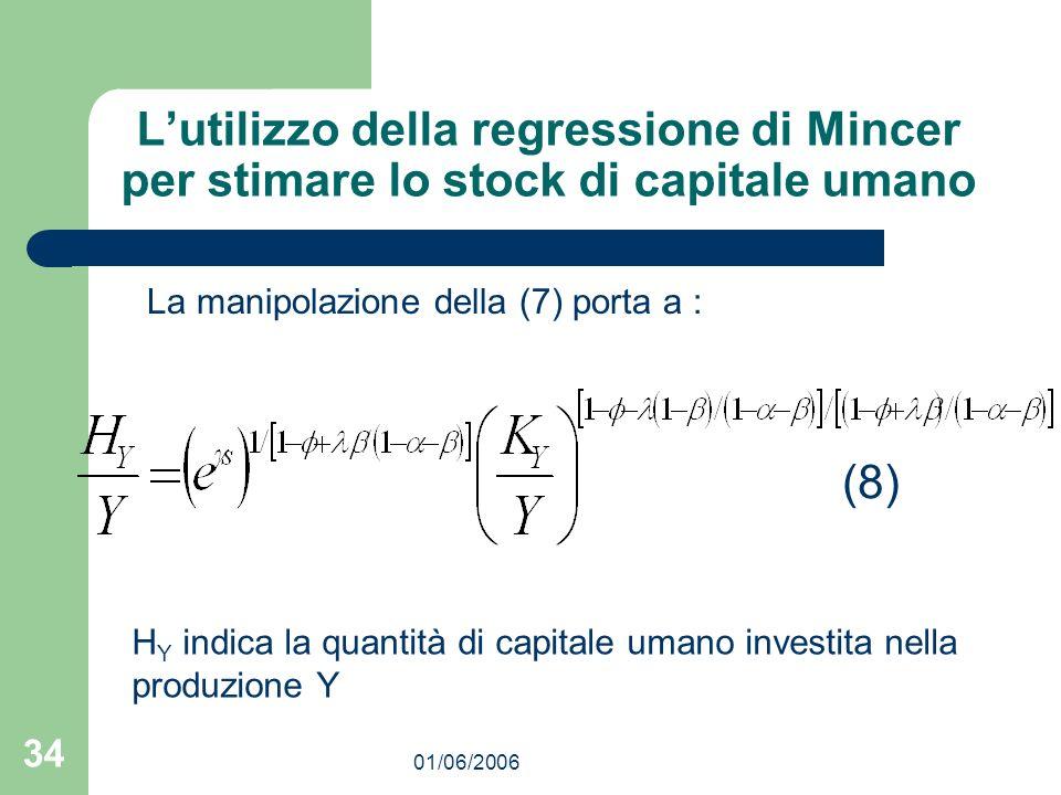01/06/2006 34 Lutilizzo della regressione di Mincer per stimare lo stock di capitale umano La manipolazione della (7) porta a : (8) H Y indica la quan