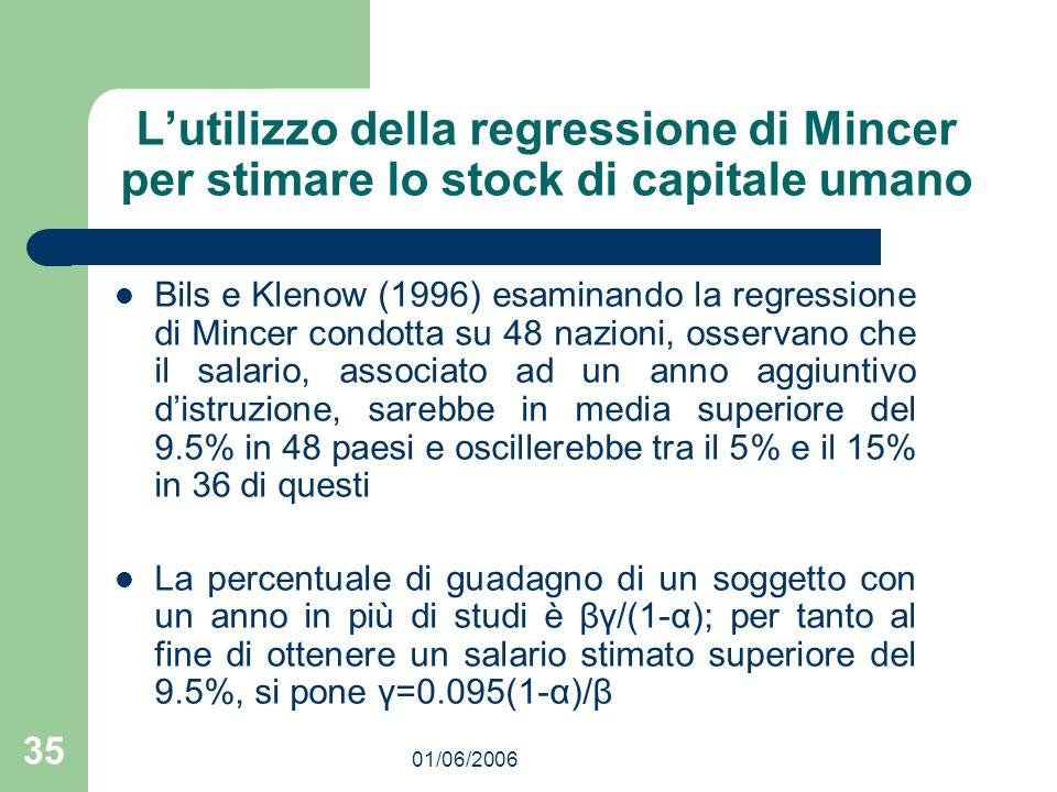 01/06/2006 35 Lutilizzo della regressione di Mincer per stimare lo stock di capitale umano Bils e Klenow (1996) esaminando la regressione di Mincer condotta su 48 nazioni, osservano che il salario, associato ad un anno aggiuntivo distruzione, sarebbe in media superiore del 9.5% in 48 paesi e oscillerebbe tra il 5% e il 15% in 36 di questi La percentuale di guadagno di un soggetto con un anno in più di studi è βγ/(1-α); per tanto al fine di ottenere un salario stimato superiore del 9.5%, si pone γ=0.095(1-α)/β