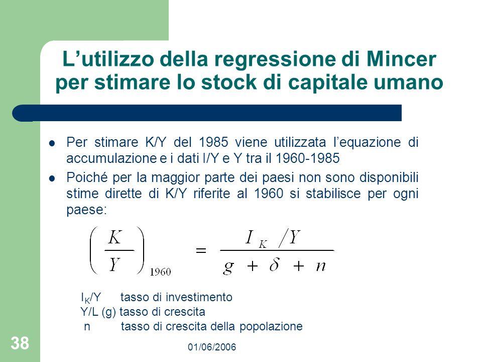 01/06/2006 38 Lutilizzo della regressione di Mincer per stimare lo stock di capitale umano Per stimare K/Y del 1985 viene utilizzata lequazione di acc