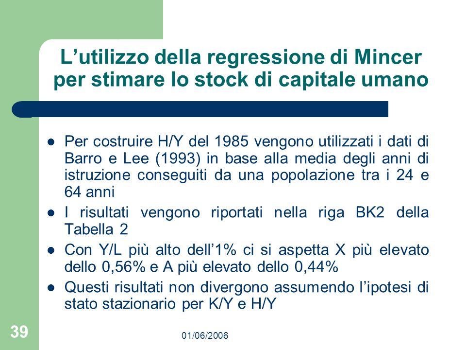 01/06/2006 39 Lutilizzo della regressione di Mincer per stimare lo stock di capitale umano Per costruire H/Y del 1985 vengono utilizzati i dati di Bar