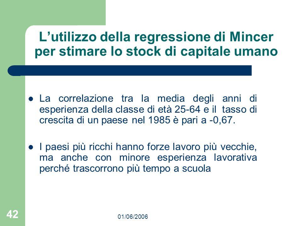 01/06/2006 42 Lutilizzo della regressione di Mincer per stimare lo stock di capitale umano La correlazione tra la media degli anni di esperienza della