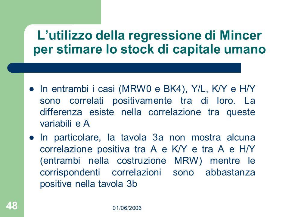 01/06/2006 48 Lutilizzo della regressione di Mincer per stimare lo stock di capitale umano In entrambi i casi (MRW0 e BK4), Y/L, K/Y e H/Y sono correlati positivamente tra di loro.