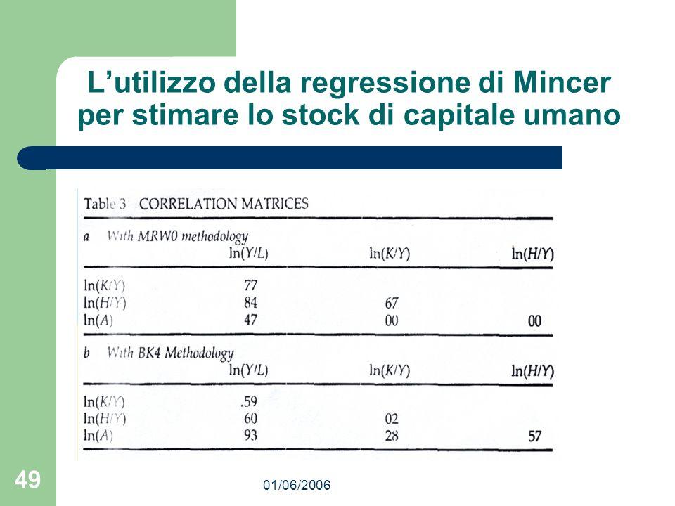 01/06/2006 49 Lutilizzo della regressione di Mincer per stimare lo stock di capitale umano