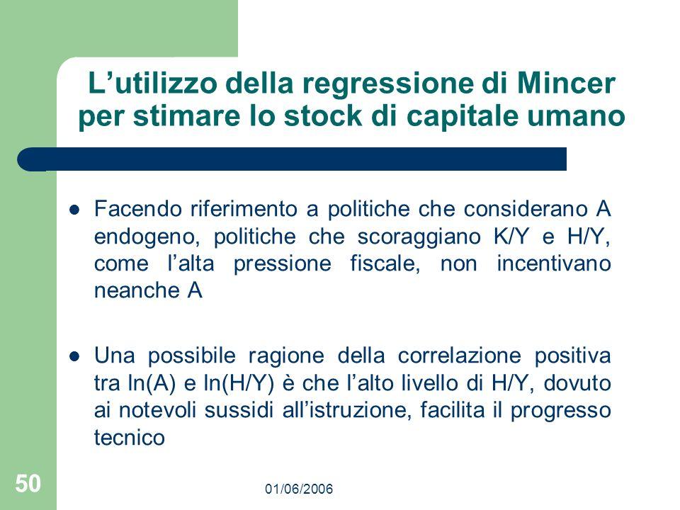 01/06/2006 50 Lutilizzo della regressione di Mincer per stimare lo stock di capitale umano Facendo riferimento a politiche che considerano A endogeno,