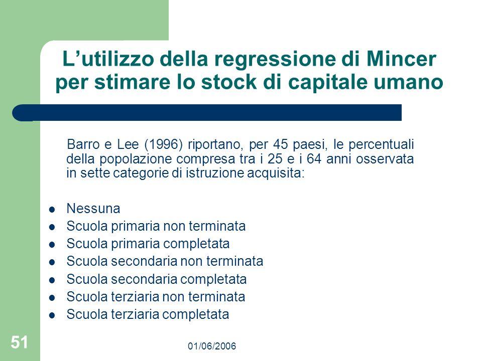 01/06/2006 51 Lutilizzo della regressione di Mincer per stimare lo stock di capitale umano Barro e Lee (1996) riportano, per 45 paesi, le percentuali