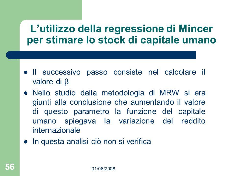 01/06/2006 56 Lutilizzo della regressione di Mincer per stimare lo stock di capitale umano Il successivo passo consiste nel calcolare il valore di β N
