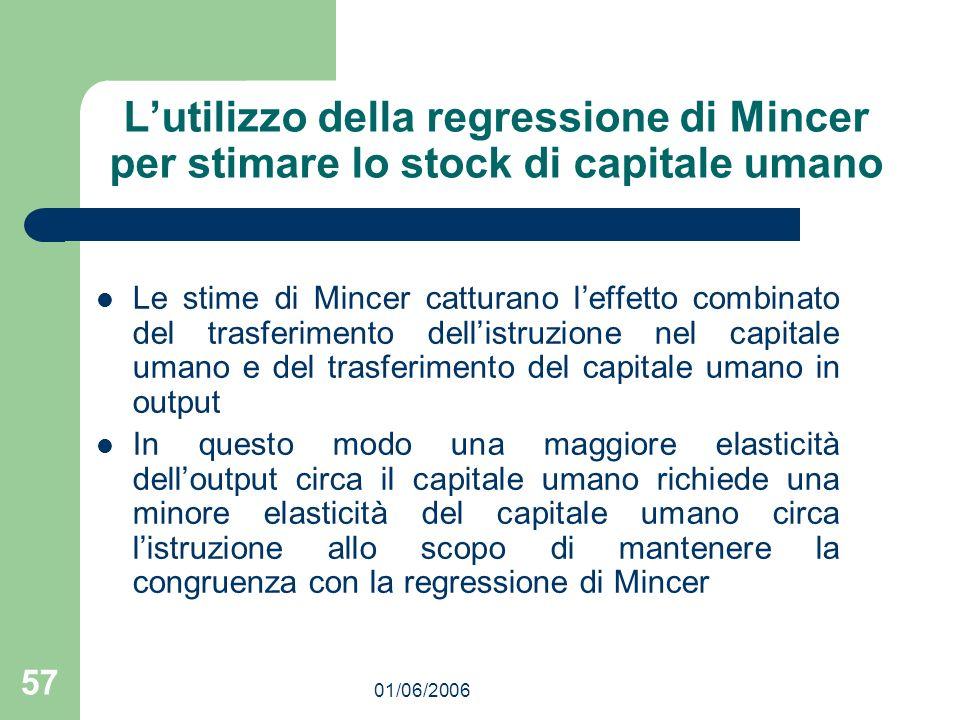 01/06/2006 57 Lutilizzo della regressione di Mincer per stimare lo stock di capitale umano Le stime di Mincer catturano leffetto combinato del trasfer