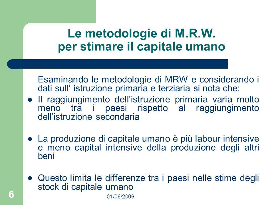 01/06/2006 6 Le metodologie di M.R.W. per stimare il capitale umano Esaminando le metodologie di MRW e considerando i dati sull istruzione primaria e