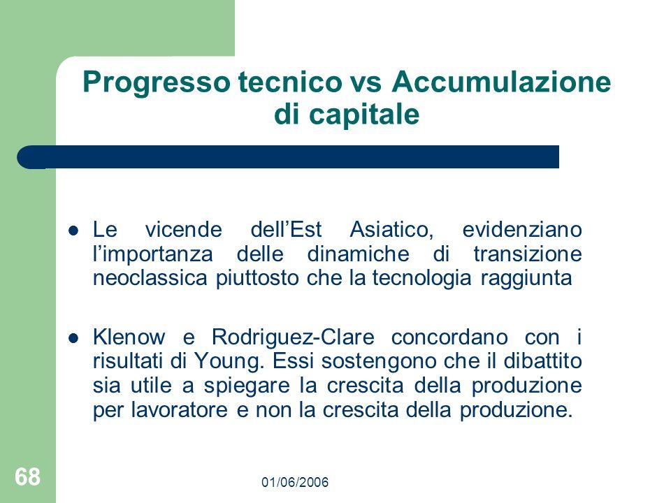 01/06/2006 68 Progresso tecnico vs Accumulazione di capitale Le vicende dellEst Asiatico, evidenziano limportanza delle dinamiche di transizione neocl