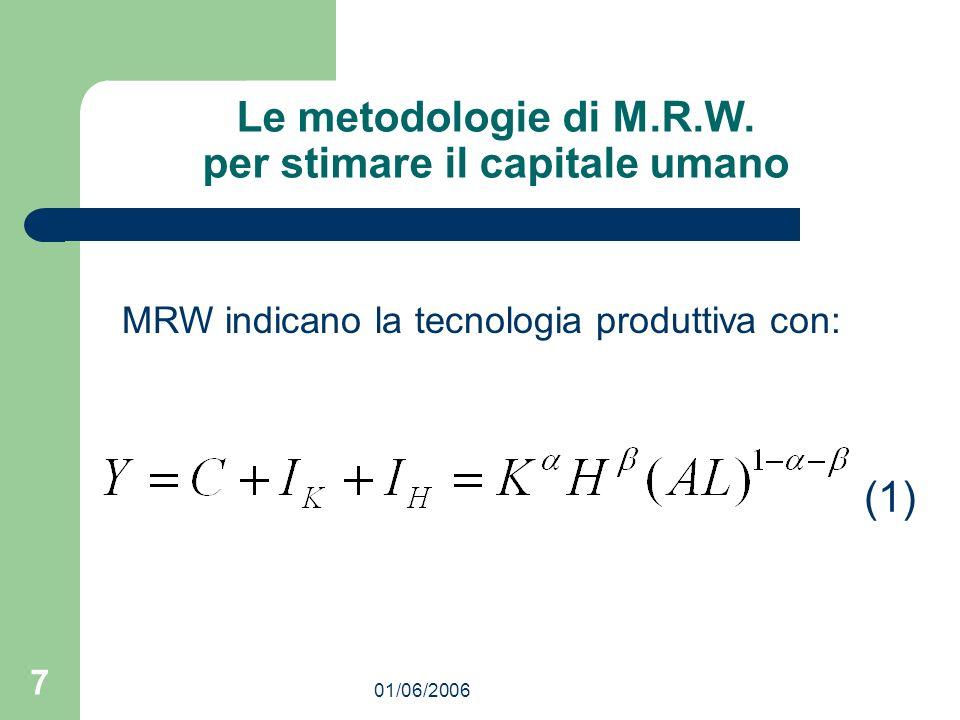01/06/2006 7 Le metodologie di M.R.W. per stimare il capitale umano MRW indicano la tecnologia produttiva con: (1)