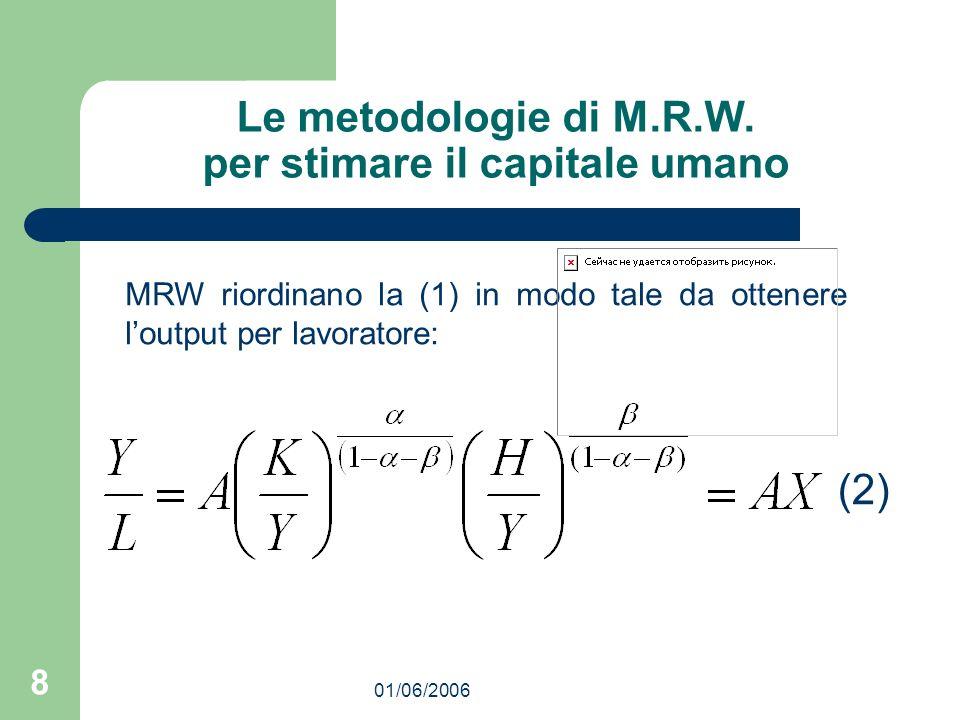 01/06/2006 8 Le metodologie di M.R.W. per stimare il capitale umano MRW riordinano la (1) in modo tale da ottenere loutput per lavoratore: (2)