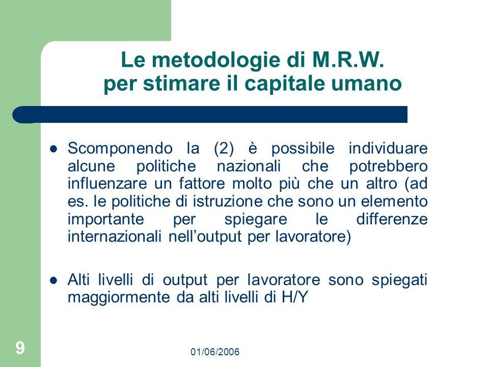 01/06/2006 9 Le metodologie di M.R.W. per stimare il capitale umano Scomponendo la (2) è possibile individuare alcune politiche nazionali che potrebbe