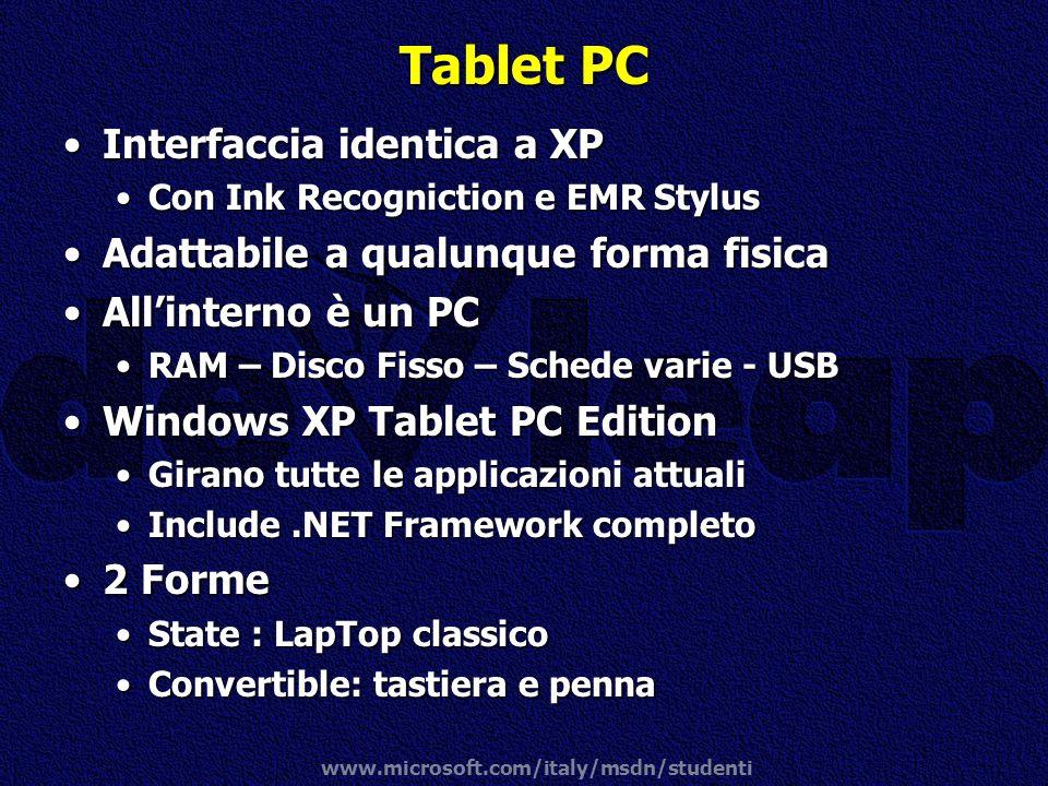 www.microsoft.com/italy/msdn/studenti Tablet PC Interfaccia identica a XPInterfaccia identica a XP Con Ink Recogniction e EMR StylusCon Ink Recognicti