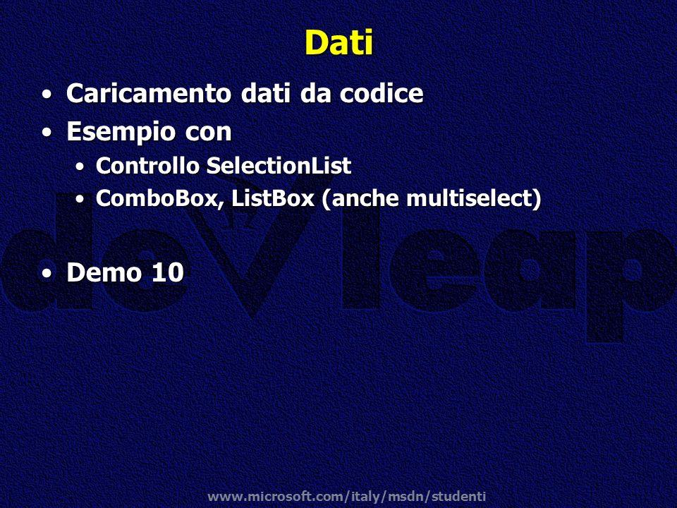 www.microsoft.com/italy/msdn/studenti Dati Caricamento dati da codiceCaricamento dati da codice Esempio conEsempio con Controllo SelectionListControll