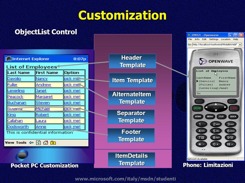 www.microsoft.com/italy/msdn/studenti Customization ObjectList Control HeaderTemplate Item Template AlternateItemTemplate FooterTemplate SeparatorTemp