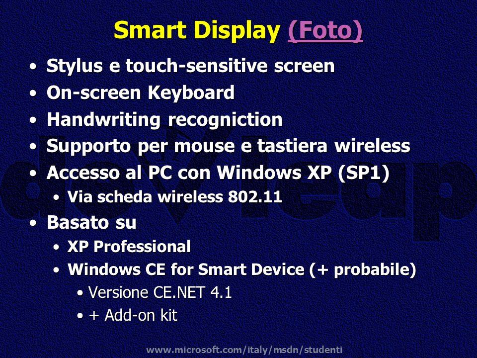 www.microsoft.com/italy/msdn/studenti Smart Display (Foto) (Foto) Stylus e touch-sensitive screenStylus e touch-sensitive screen On-screen KeyboardOn-