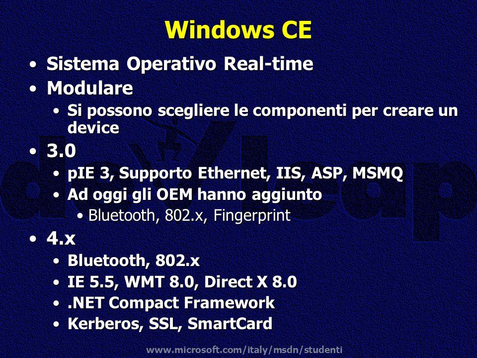www.microsoft.com/italy/msdn/studenti Windows CE Sistema Operativo Real-timeSistema Operativo Real-time ModulareModulare Si possono scegliere le compo