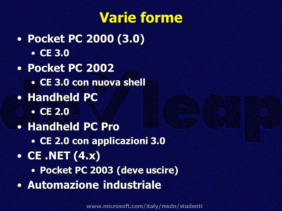 www.microsoft.com/italy/msdn/studenti Varie forme Pocket PC 2000 (3.0)Pocket PC 2000 (3.0) CE 3.0CE 3.0 Pocket PC 2002Pocket PC 2002 CE 3.0 con nuova