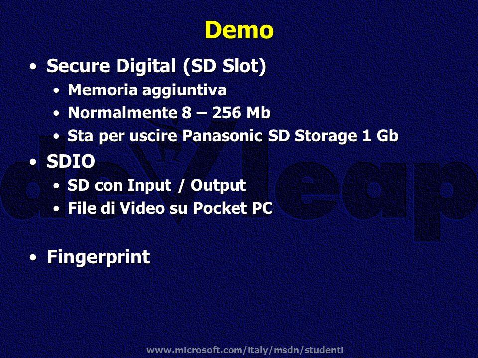 www.microsoft.com/italy/msdn/studenti Demo Secure Digital (SD Slot)Secure Digital (SD Slot) Memoria aggiuntivaMemoria aggiuntiva Normalmente 8 – 256 M