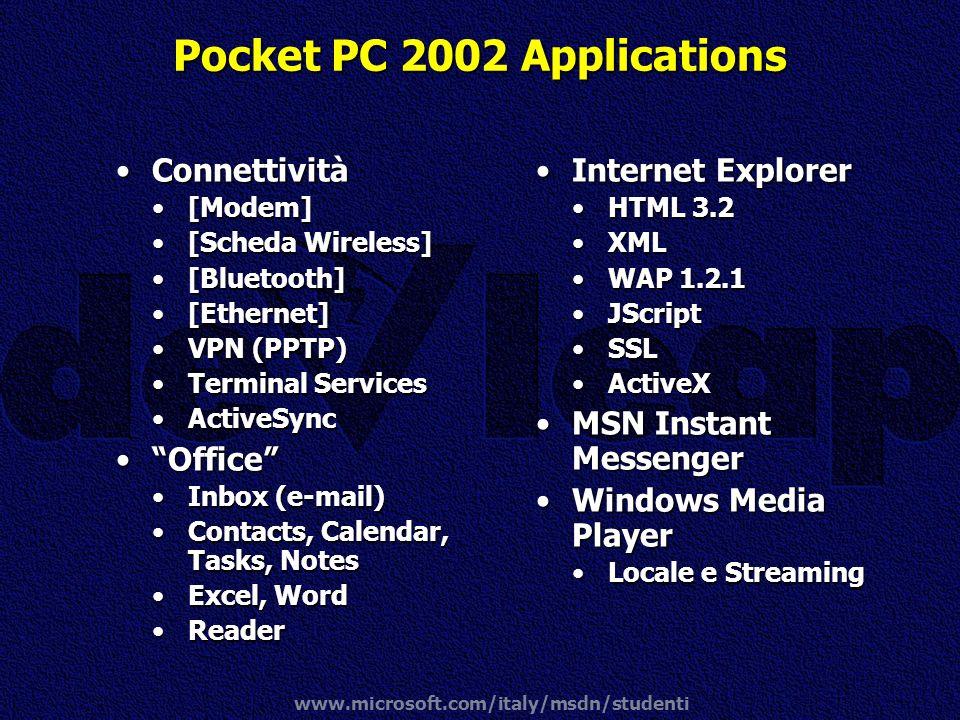 www.microsoft.com/italy/msdn/studenti Pocket PC 2002 Applications ConnettivitàConnettività [Modem][Modem] [Scheda Wireless][Scheda Wireless] [Bluetoot