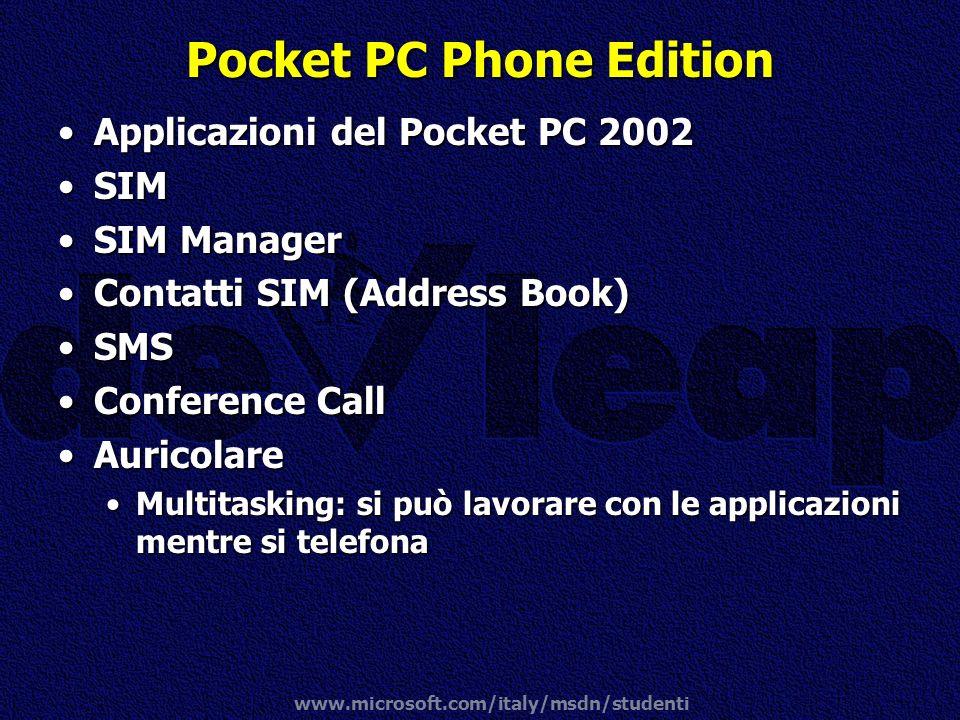 www.microsoft.com/italy/msdn/studenti Pocket PC Phone Edition Applicazioni del Pocket PC 2002Applicazioni del Pocket PC 2002 SIMSIM SIM ManagerSIM Man