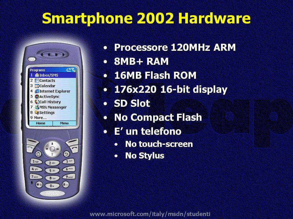 www.microsoft.com/italy/msdn/studenti Smartphone 2002 Hardware Processore 120MHz ARMProcessore 120MHz ARM 8MB+ RAM8MB+ RAM 16MB Flash ROM16MB Flash RO
