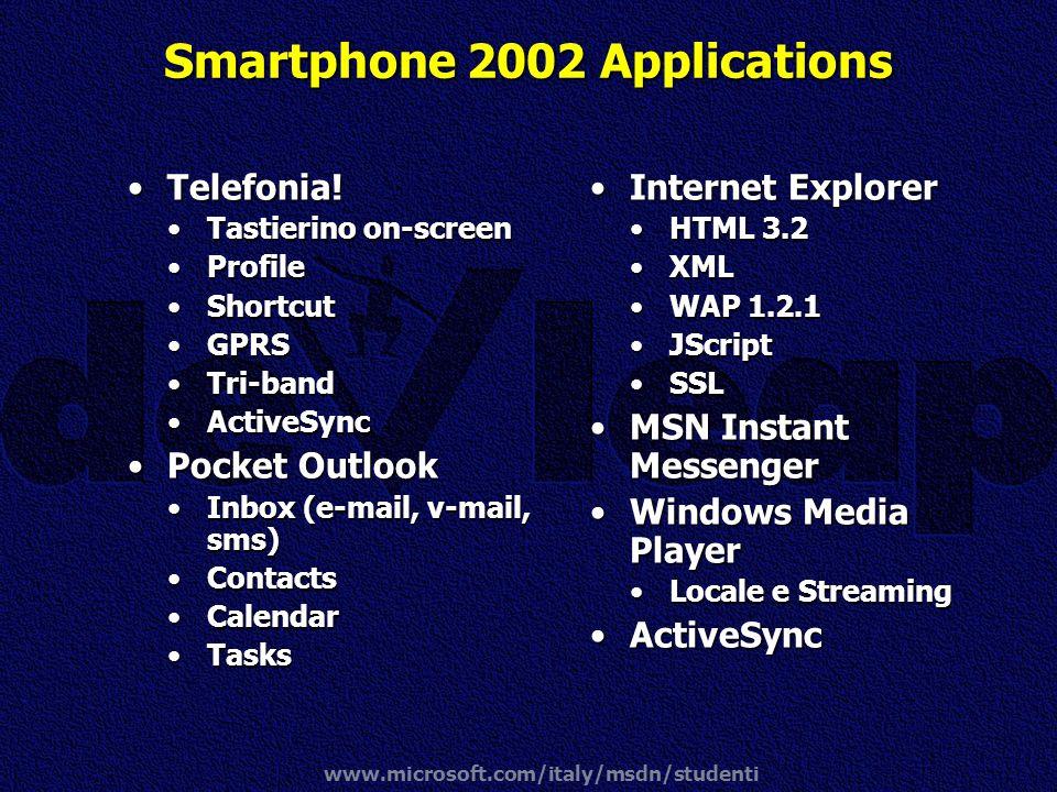 www.microsoft.com/italy/msdn/studenti Smartphone 2002 Applications Telefonia!Telefonia! Tastierino on-screenTastierino on-screen ProfileProfile Shortc